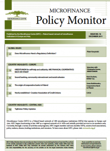 MICROFINANCE CENTRE MFC POLICY MONITOR PUBLICATION 2011