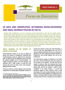 MFC Policy Paper No. 3_Of Mice and Unemployed_Rethinking Micro-Enterprise and Small Business_2015