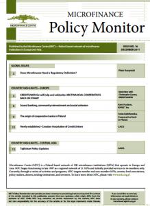 MICROFINANCE CENTRE MFC POLICY MONITOR PUBLICATION 2011