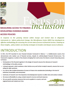 MFC Microfinance Centre Research Measuring Access to Finance_ Developing Evidence-Based Access Policies